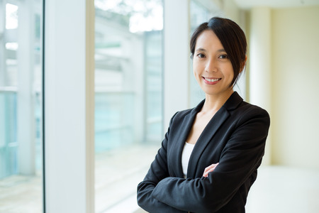 building planners: Businesswoman at office Stock Photo