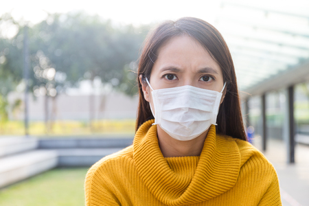 Asian Young woman wearing the face mask for protection