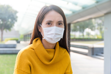 particulate: Asian Woman wearing face mask for protect from air pollution
