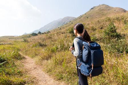 Asian Woman go hiking