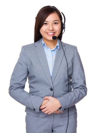 hotlink: Businesswoman with headset for customer services