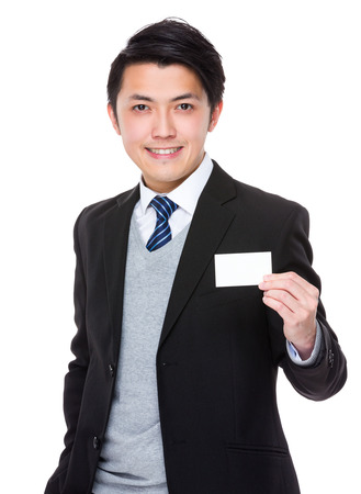 asian man: Businessman show with the blank namecard
