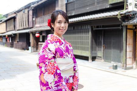 asian house plants: Japanese Woman with japanese kimono at kyoto Stock Photo