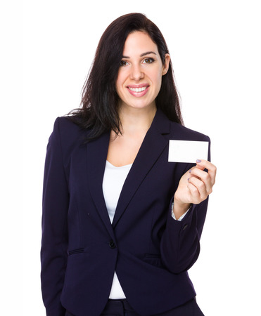 namecard: Young businesswoman show with blank namecard