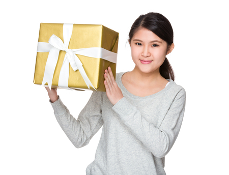 sweatsuit: Woman hold with gift box