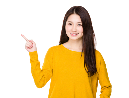 sales promotion: Young woman showing finger up Stock Photo
