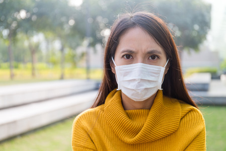 particulate: Asian Young Woman wearing the face mask