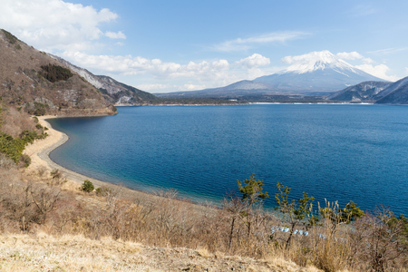 fujisan: Fujisan with Lake Motosu Stock Photo