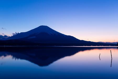cloud capped: Lake Yamanaka with Fujisan at sunset