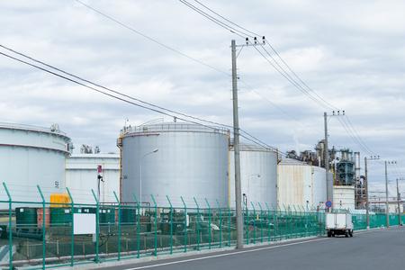 fuel storage: Fuel Storage Tank in industrial city