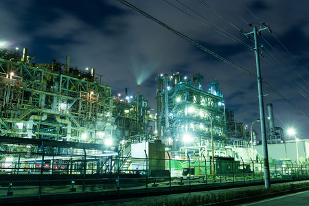 land scape: Oil refinery petrochemical industrial at night