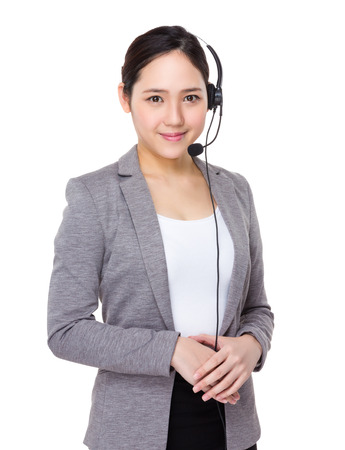 telephone saleswoman: Customer services assistant Stock Photo