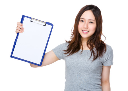 blank page: Asian woman showing the blank page of clipboard