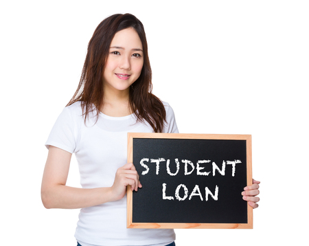 student loan: Young woman hold with blackboard showing student loan