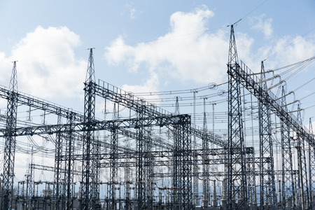power lines: high voltage substation
