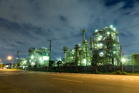 natural gas prices: Industrial factory at night