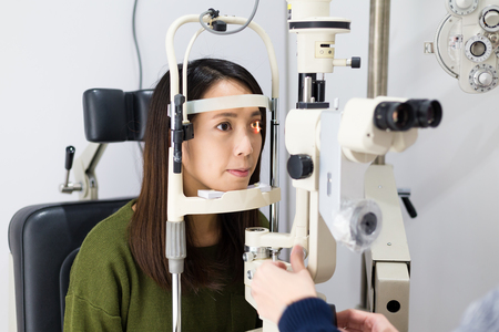 Patient during an eye examination at the eye clinic