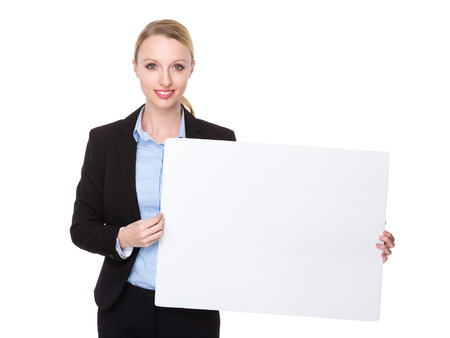 american banker: Caucasian businesswoman show with white banner