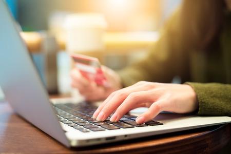 online: Woman shopping online