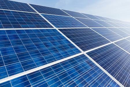 photocell: Solar panel with blue sky Stock Photo