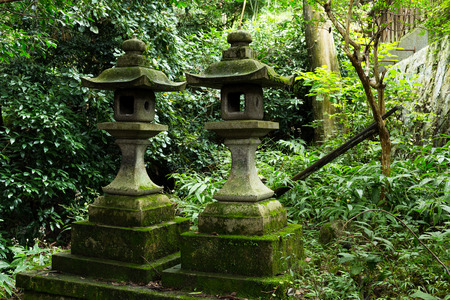 japanese temple: Stone lantern in japanese temple Stock Photo