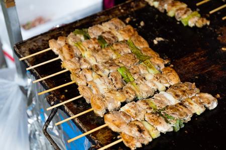 meat skewers: Grill of chicken meat skewers