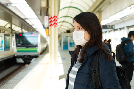 Woman worry about the air pollution Stock Photo
