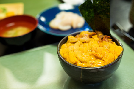 Japanese urchin rice Stock Photo