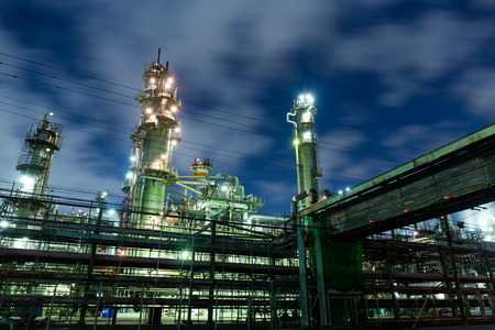 petrol bomb: Oil refinery industry at night