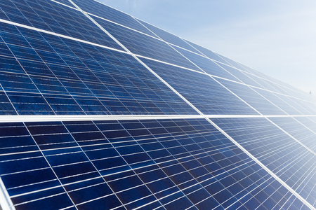nonpolluting: Solar panel uner blue sky