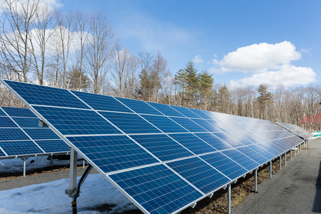 clear day in winter time: Solar energy panel