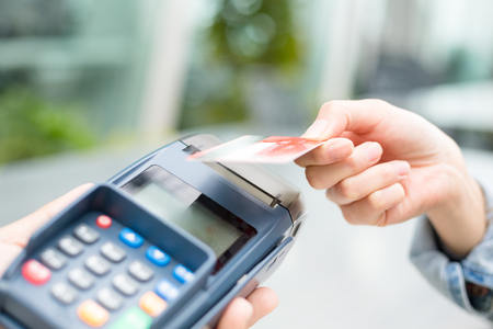 paying: Customer paying with NFC technology