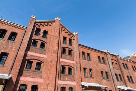 apartment tower old town: Red brick warehouse in yokohama