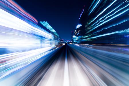 都市高速道路道路トンネル内速度モーション 写真素材