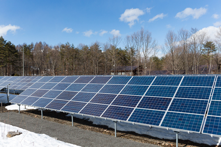 clear day in winter time: Solar panel with blue sky Stock Photo
