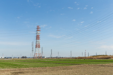 power distribution: Power distribution tower in countryside