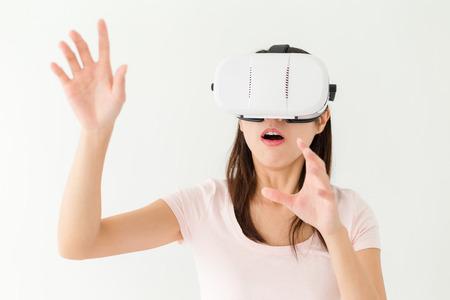 horrify: Woman feeling horrify when using vr device
