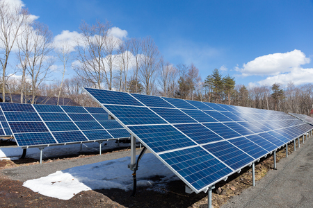 nonpolluting: Solar power plant with blue sky