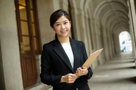 Businesswoman hold with file board Reklamní fotografie