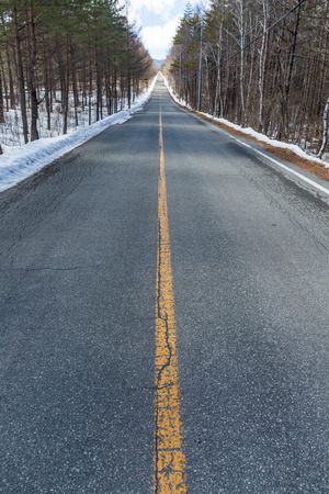 icy conditions: Road at winter time