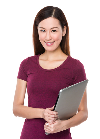 conputer: Woman hold with laptop conputer