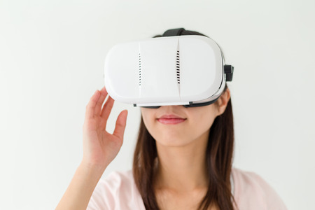 visualizing: Woman wearing vr device
