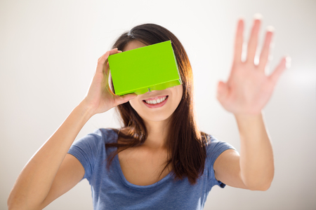 computer simulation: Woman experience using virtual reality device