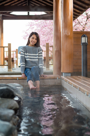 wetting: Woman enjoy onsen in japan