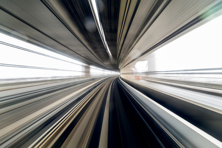 though: Motion of train passing though the tunnel