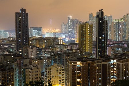 overcrowded: Hong Kong residential building Stock Photo