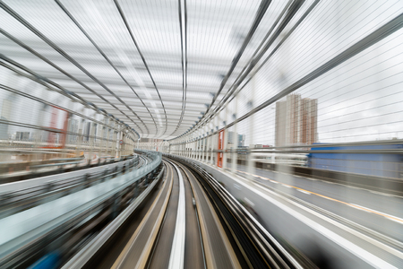 blur subway: Subway tunnel with Motion blur of a city