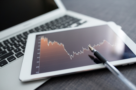 market analyze: Stock market analyze with digital tablet