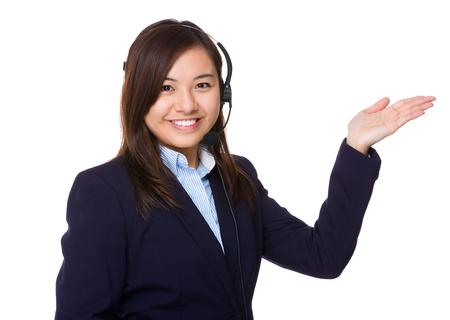 hot secretary: Customer services representative with open hand palm