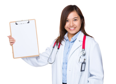 general pediatrician: Doctor show with clipboard Stock Photo